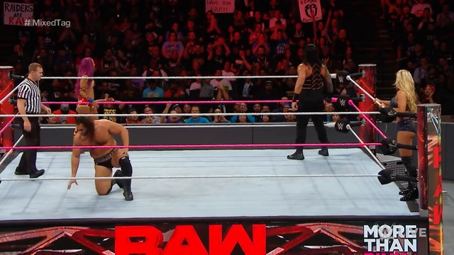 Roman Reigns & Sasha Banks vs. Rusev & Charlotte - Mixed Tag Team Match- Raw, Oct. 10, 2016